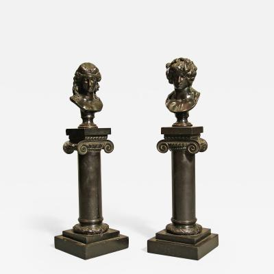 Pair of Antique Decorative Bronze Roman Busts on Columns