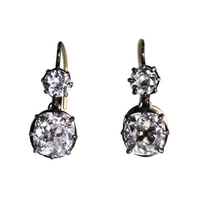 Pair of Antique Diamond Pendant Earrings