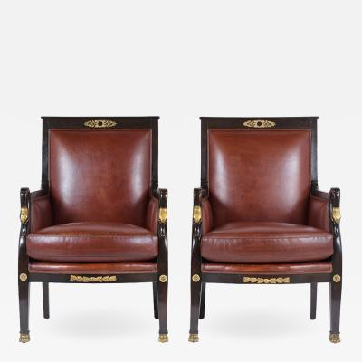 Pair of Antique Ebonized Empire Leather Armchairs