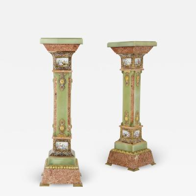 Pair of Antique Eclectic Style Onyx and Marble Pedestals