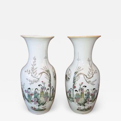 Pair of Antique Famille Verte Vases