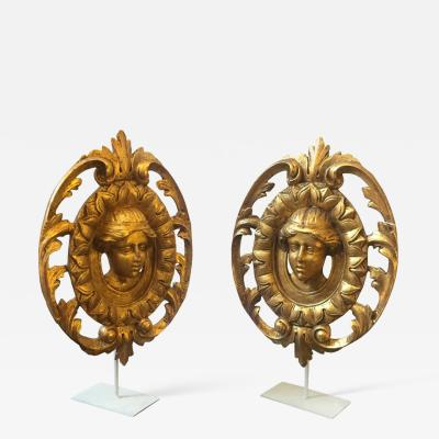 Pair of Antique Hand Carved Gilded Wood Ornaments