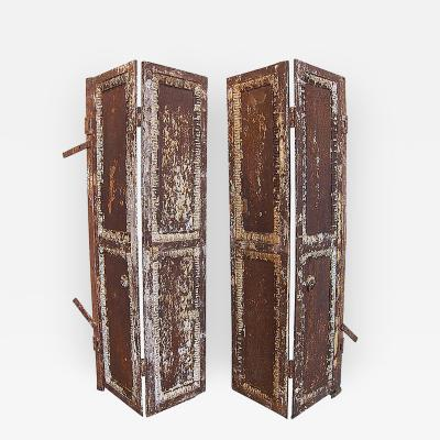 Pair of Antique Industrial Iron Doors Window Shutters
