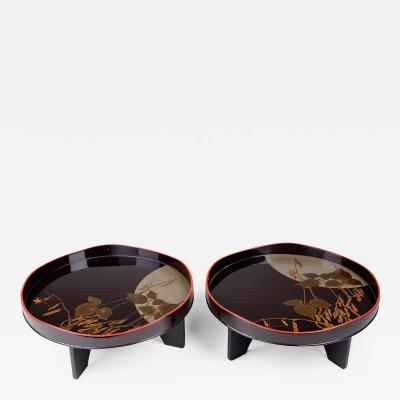 Pair of Antique Japanese Lacquer Trays