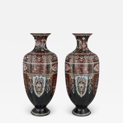 Pair of Antique Japanese Meiji Period Goldstone and Enamel Vases