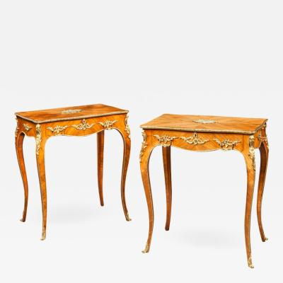 Pair of Antique Kingwood and Porcelain Side Tables