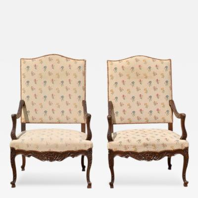 Pair of Antique Louis XV Style Armchairs France 19th Century