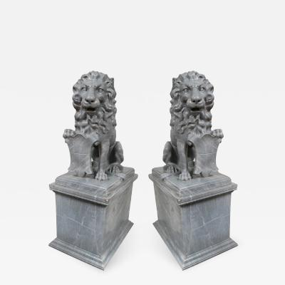Pair of Antique Marble Lions