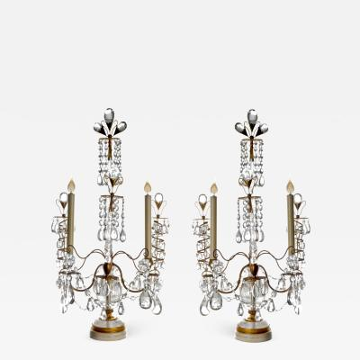 Pair of Antique Russian Neoclassical Gilt Bronze and Rock Crystal Lamps