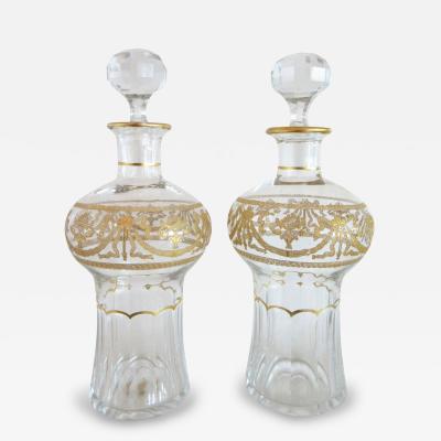 Pair of Antique St Louis Crystal Perfume Bottles