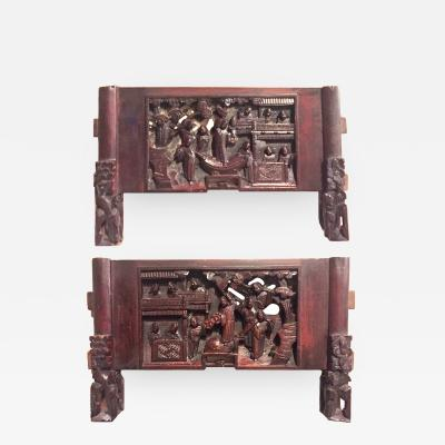 Pair of Antique Wood Carvings Celebration Theme
