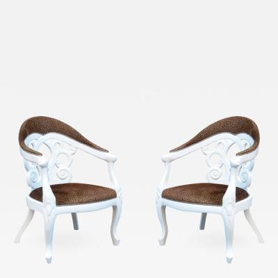 Pair of Armchairs designed by David Barrett Solid wood in white Lacquer
