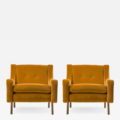 Pair of Armchairs in Yellow Velvet with Brass Legs Italy 1950s