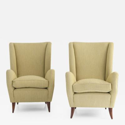 Pair of Armchairs with High Backs and Wooden Feet