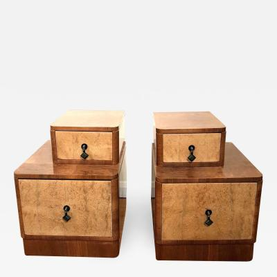 Pair of Art Deco 1930s Stepped Bedside Cabinets