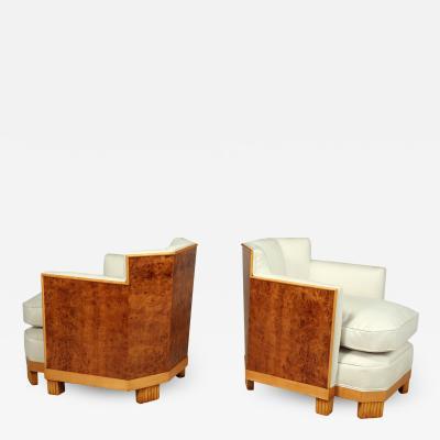 Pair of Art Deco Armchairs in Burr Thuya