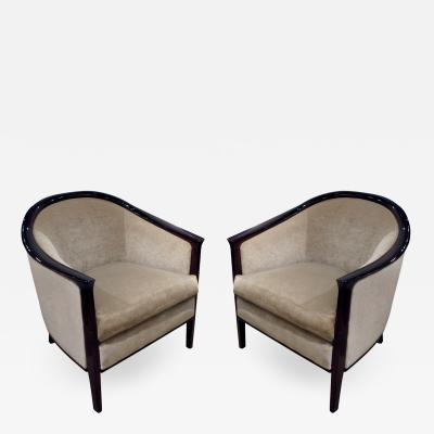 Pair of Art Deco Barrel Back Lounge Chairs with Mahogany Frames 1930s