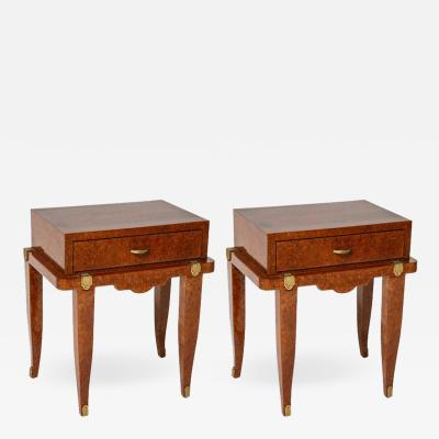 Pair of Art Deco Bedside Tables in Amboyna Mother of Pearl and Bronze Dor