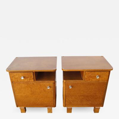 Pair of Art Deco Burl Wood Nightstands