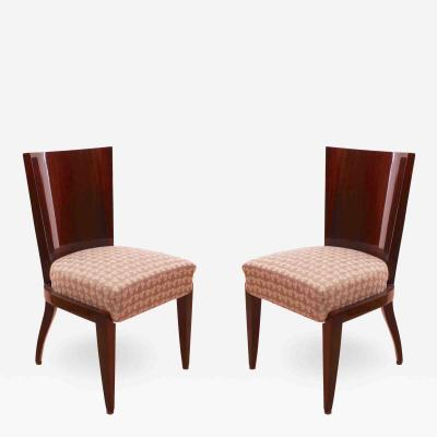 Pair of Art Deco Chairs Mahogany Veneer France circa 1930