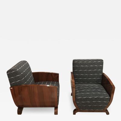 Pair of Art Deco Club Chairs Walnut Veneer France circa 1930