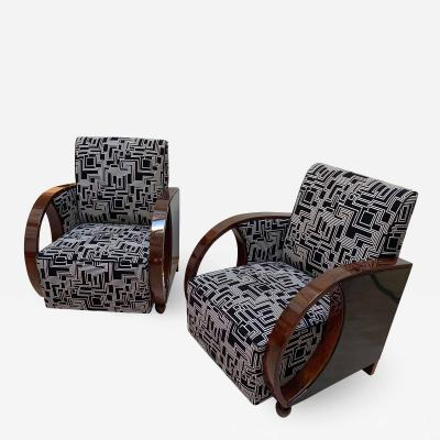 Pair of Art Deco Club Chairs Walnut Veneer France circa 1930