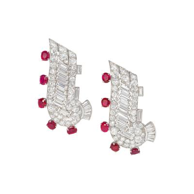 Pair of Art Deco Diamond and Ruby Clip Brooches of Scroll Design