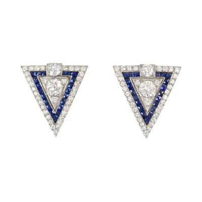 Pair of Art Deco Diamond and Sapphire Dress Clips