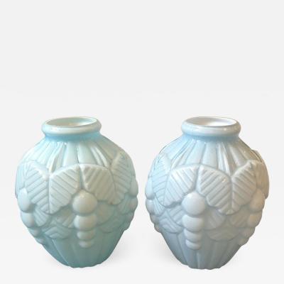 Pair of Art Deco French Light Blue Opaline Vases circa 1930