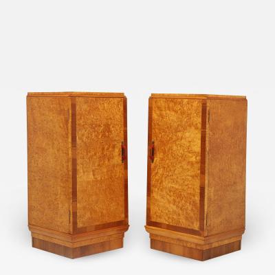 Pair of Art Deco Karelian Birch Bedside Cabinets