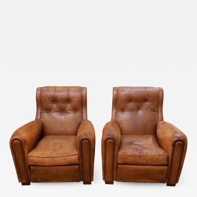 Pair of Art Deco Leather Chairs