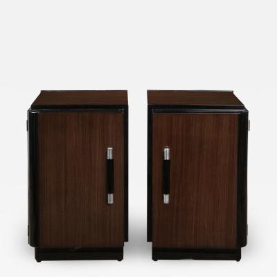 Pair of Art Deco Machine Age Bookmatched Walnut Nightstands w Lacquer Details