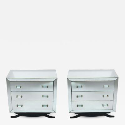 Pair of Art Deco Mirrored Chests with Glass Handles