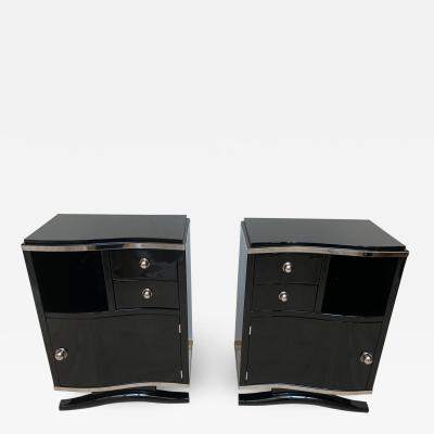 Pair of Art Deco Nightstands Black Lacquer and Chrome France circa 1930