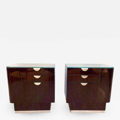 Pair of Art Deco Nightstands Rosewood Maple France circa 1930