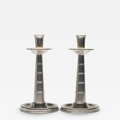Pair of Art Deco Pewter Candlesticks by GAB Tenn Svensk