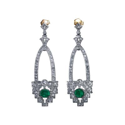 Pair of Art Deco Platinum Emerald and Diamond Earrings