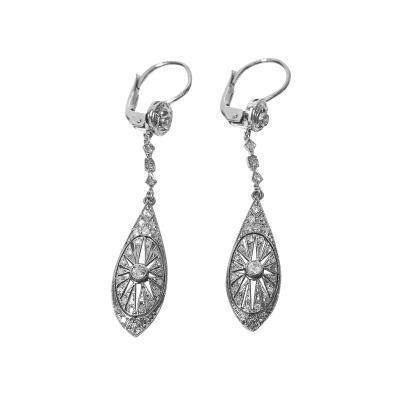 Pair of Art Deco Platinum and Diamond drop Earrings C 1920