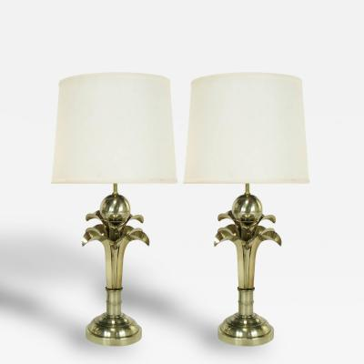 Pair of Art Deco Revival Gold Metal Palm Tree Table Lamps