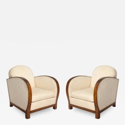 Pair of Art Deco Rolled Arm Club Chairs
