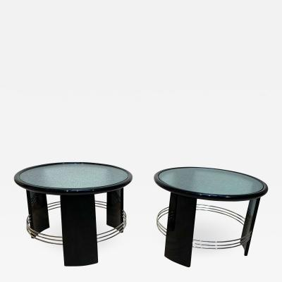 Pair of Art Deco Side Coffee Tables Black Lacquer Nickel France circa 1930