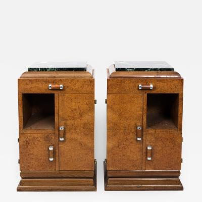 Pair of Art Deco Side Tables with Marble Tops circa 1930s