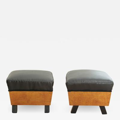 Pair of Art Deco Stools Birch Roots Faux Leather France circa 1930