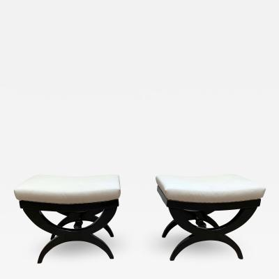 Pair of Art Deco Stools Tabourets Black Lacquer France circa 1940