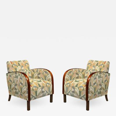Pair of Art Deco Streamlined Walnut Club Chairs in Cubist Clarence House Fabric