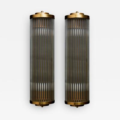 Pair of Art Deco Style Brass and Glass Wall Sconces