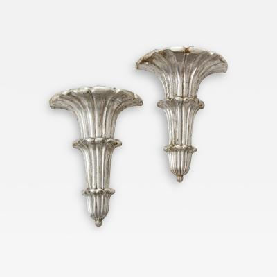 Pair of Art Deco Venetian Carved Silver Leafed Wall Brackets