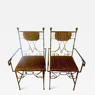 Pair of Art Deco Wrought Iron Chairs with Cut Velvet