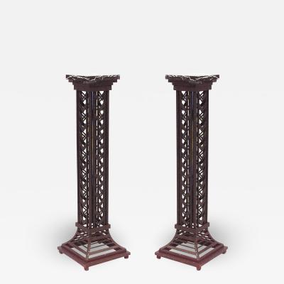 Pair of Art Deco Wrought Iron Pedestals