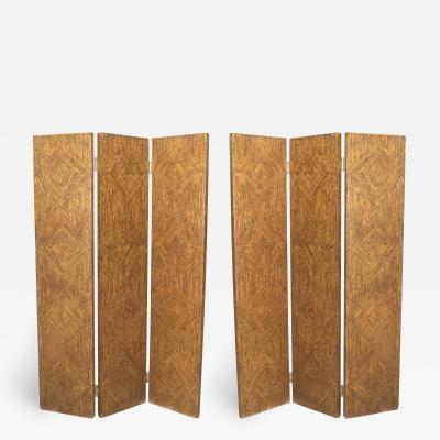 Pair of Art Moderne Painted 3 Fold Screen